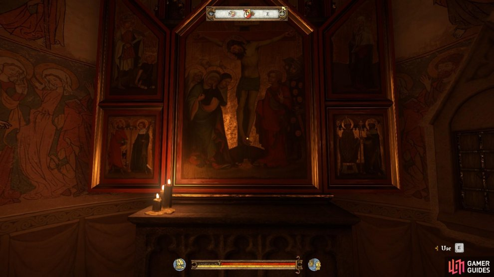Wait in the church until night falls, at which point you will be able to use the altar to trigger a cut scene.