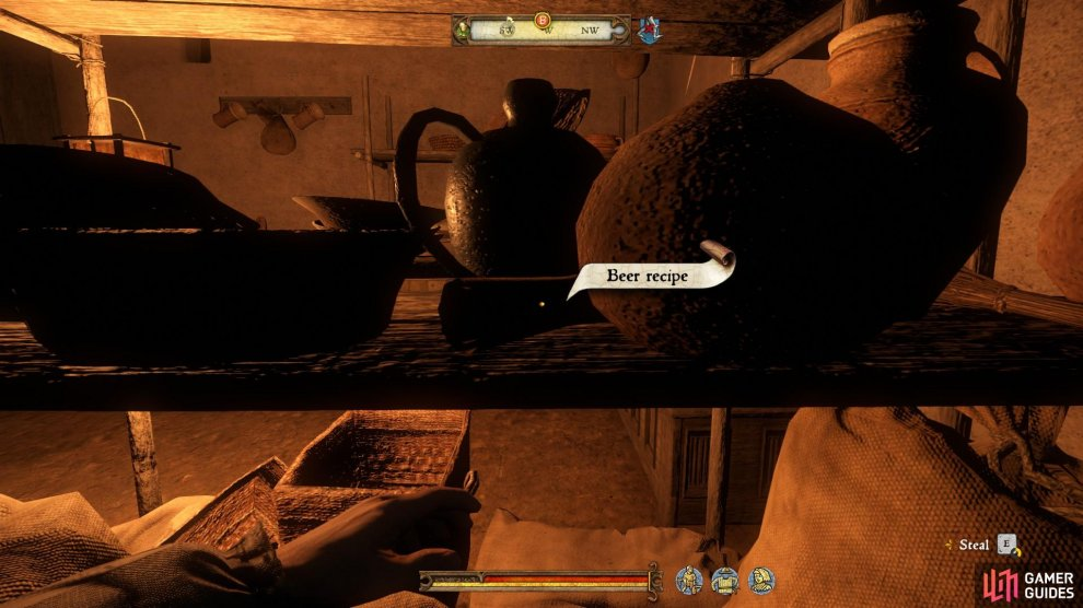 The beer recipe can be found in the middle of the shelf between the two chests in the centre of the room.