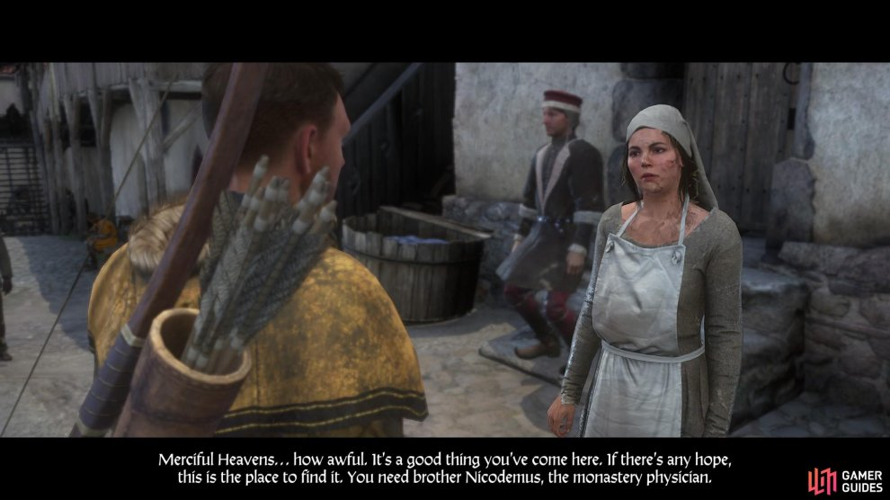 After speaking with Johanka, she will refer you to Brother Nicodemus for advice in treating the plague.