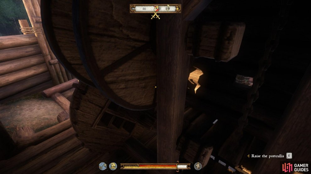 Make your way above the main gate and raise the portcullis, but be ready to fight some bandits along the way.