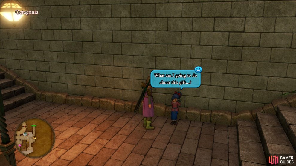 Talk to this girl near the entrance to the Casino to begin a hidden quest.