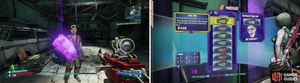 Eridium (left) is a very valuable resource on Pandora. You can use it to purchase permament character upgrades at the Black Market (right).