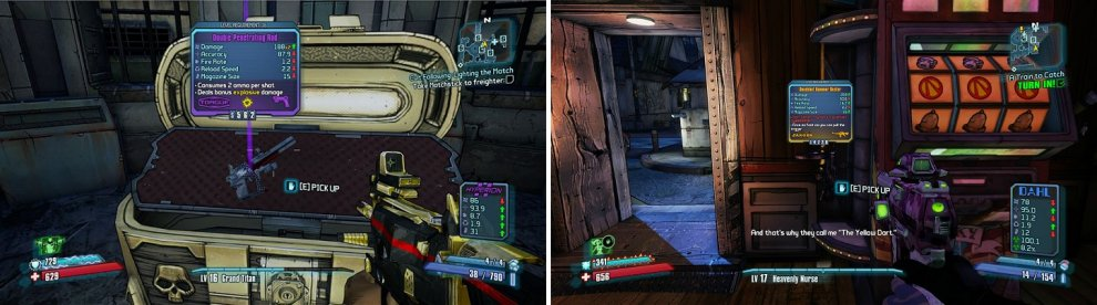 The Golden Chest in Sanctuary (left) can get you some weapons if you have a Golden Key. You can also gamble your money away to get some new weapons from the slot machines in Moxxi's Bar (right).