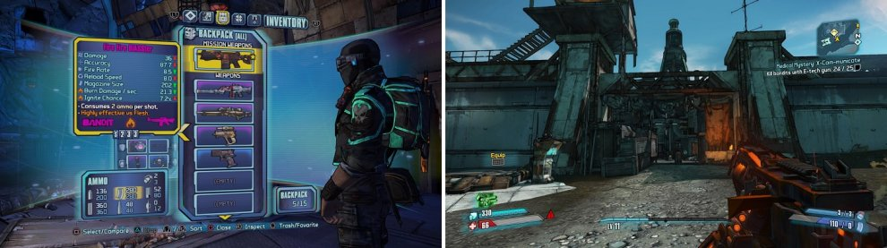 You have to use the mission weapon to get kills (left). If you run out of bandits, go to the entrance of the Southpaw Steam & Power (right) to find more.