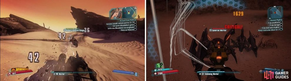 The majority of the enemies you will find in The Dust are bandit vehicles (left) and Spiderants (right).