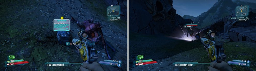 The box drops randomly from any Stalker (left). Henry is nothing but a big, Badass Stalker (right).
