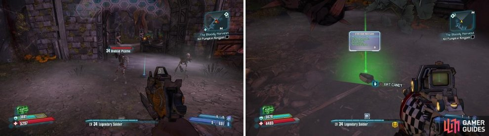 The enemies are familiar, but with just a different look (left). Candies will provide a temporary buff when picked up (right).