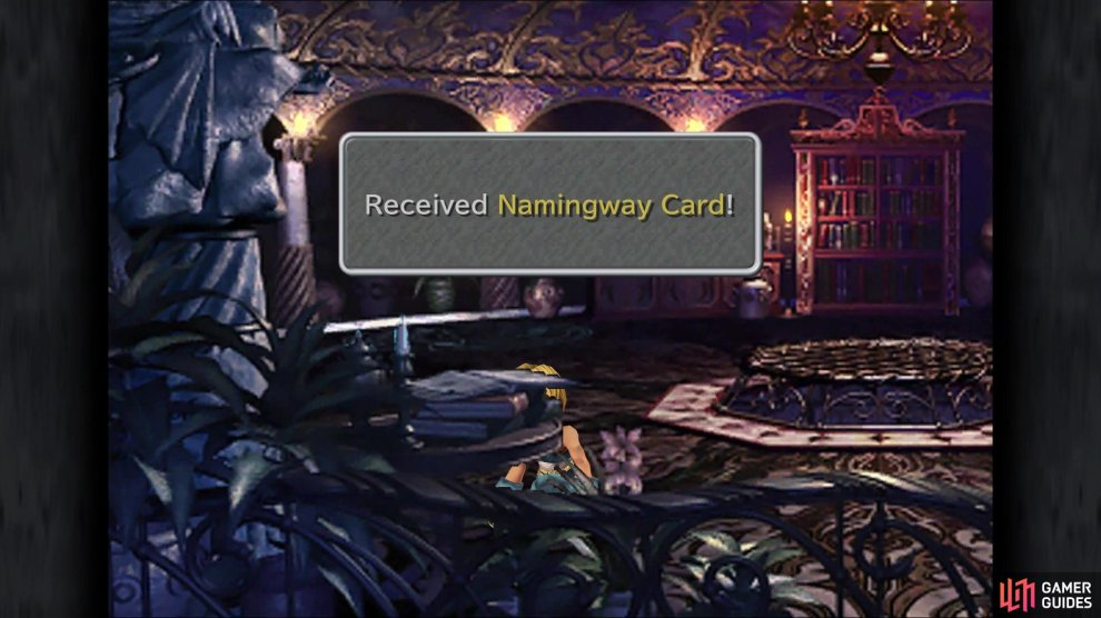 Don't forget to pick up the Namingway Card in Kuja's room before leaving