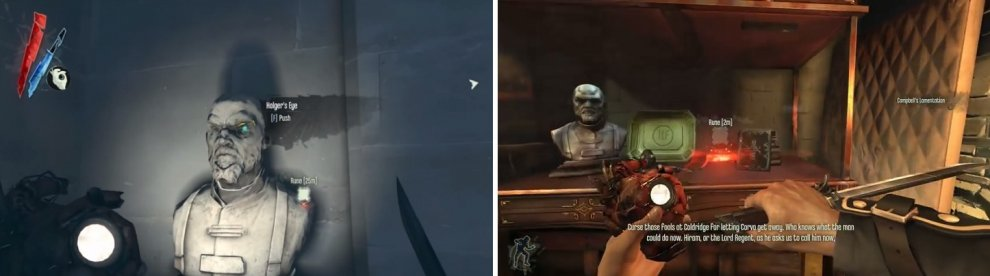 Find the stairs leading down to see a bust on a wall that allows you to access a hidden room (left), where you'll find the Rune in a glass case (right).