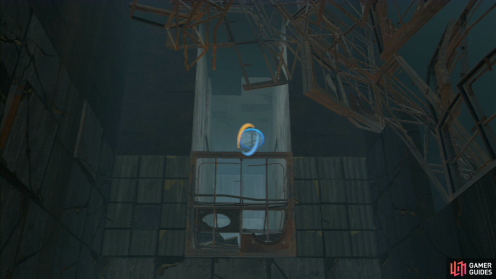 As soon as you have the full gun in your hands, turn to your right and plant one portal here, and then look back to your left and up into the distance, place your exit portal up on the roof here and step through.