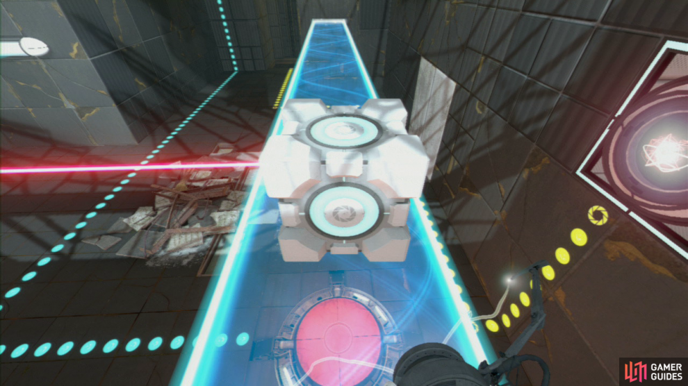 Take the Cube back through the portal behind you and set it down in front of the laser (so it's also directly above the red button below). This will cause the elevator up ahead to descend.