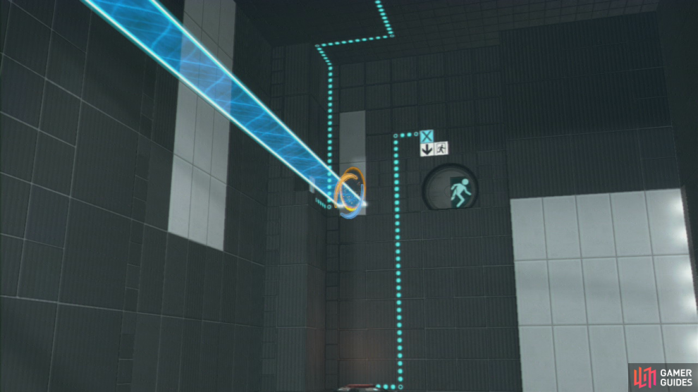 Once you enter the room, position your first portal on the wall with the light bridge and then set the exit portal up by the red plunger in the top-left corner of the room.