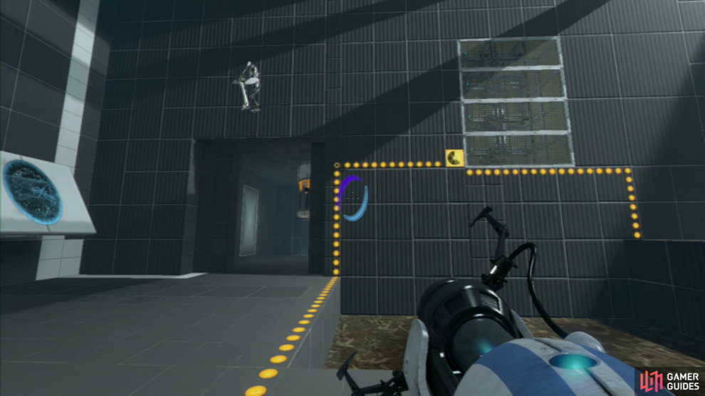 Player 1: Run across to the horizontal panels in the upper right-hand corner of the room and set your entrance portal at the bottom and your exit portal at the top (this is important). Press the nearby switch and then quickly fire off the EXIT portal on the slanted wall to the left. Now watch as your colleague gets flung over the acid water, to the other side.
