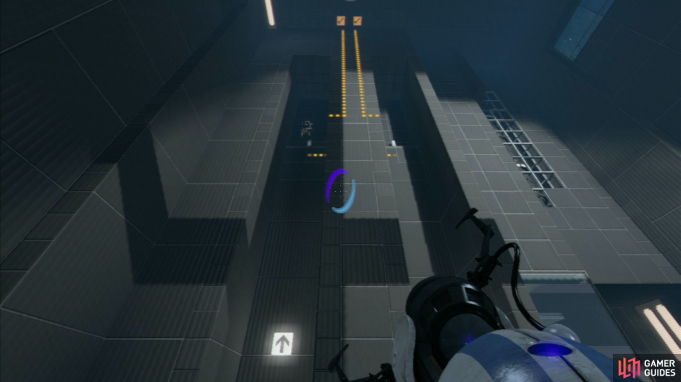 Player 1: Immediately after placing the first horizontal portal, go left and set your ENTRANCE portal on this panel. This will allow player 2 to retain their velocity as they pass through both portals.