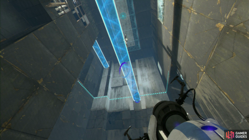 Player 1: As soon as you enter the room, turn to your right and fire your first portal up at the light bridge in the upper left-hand corner of the room. Now ask player 2 to hit the Arial Faith Plate in the middle of the room and as soon as they hit the roof, fire a portal at the wall up in front of you, so it creates a bridge that player 2 can land on.