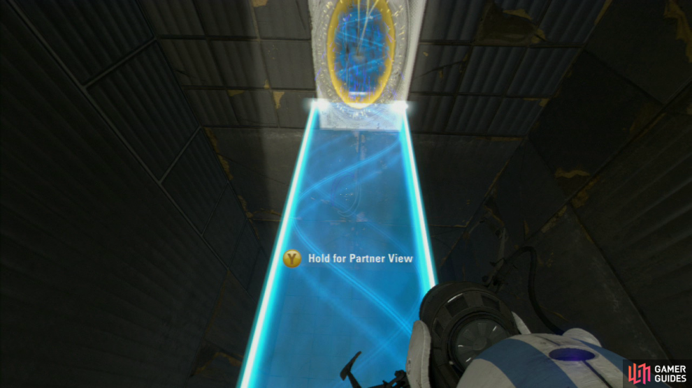 Player 2: Swap out player 1's portal with your own at the top and then ask player 1 to stand on the Faith Plate. Just like they did with you, you need to fire an exit portal on the lower portion of the wall, so the light bridge extends underneath them.  Once player one has joined you at the top, look behind you for the slanted wall panel up in the distance and fire a portal up here. Now have your second portal positioned at the end of the light bridge you're both currently on and this'll create a walkway.