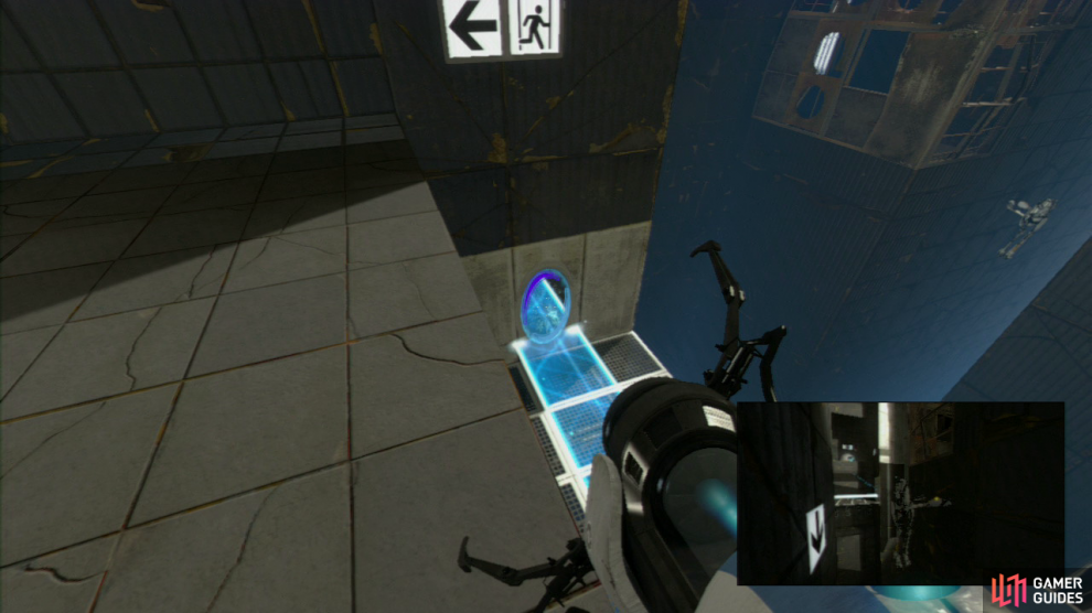 Player 1: Once you're up here, replace the light bridge on the same wall it was located on just previously, and ask player 2 to stand directly over the portal you just fell into. Once they're ready, shoot the portal on the wall beside or below you, and watch as player 2 flies through the air right towards you and the exit.