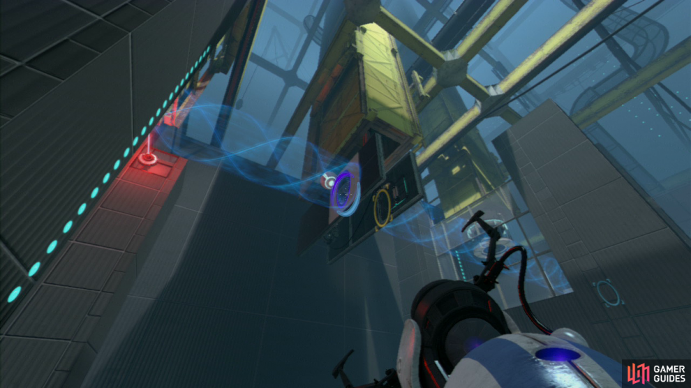 Player 1: Zoom in and fire your first portal where the ball is hitting the wall, then run to the far left-hand side of the room (towards the exit) and look up towards the red laser beam high up. Opposite is a white vertical wall panel, place your second portal here, this'll allow the sphere to pass through where it'll stop at the beam, opening the door to the exit!