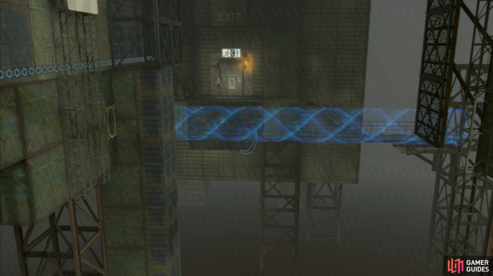 Player 1: It's now your turn to jump off of the ledge and across the platforms below. Once you land in the excursion funnel, jump out onto the walkway and then join player 2 by the exit.