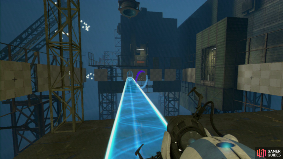 Player 1: Immediately upon enter the test chamber properly, take a left and you should spot the light bridge. Get a portal on the wall here and then get your second portal on the left-most panel located just under the 'EXIT' writing painted on the wall in the distance, creating a bridge extending all the way across.