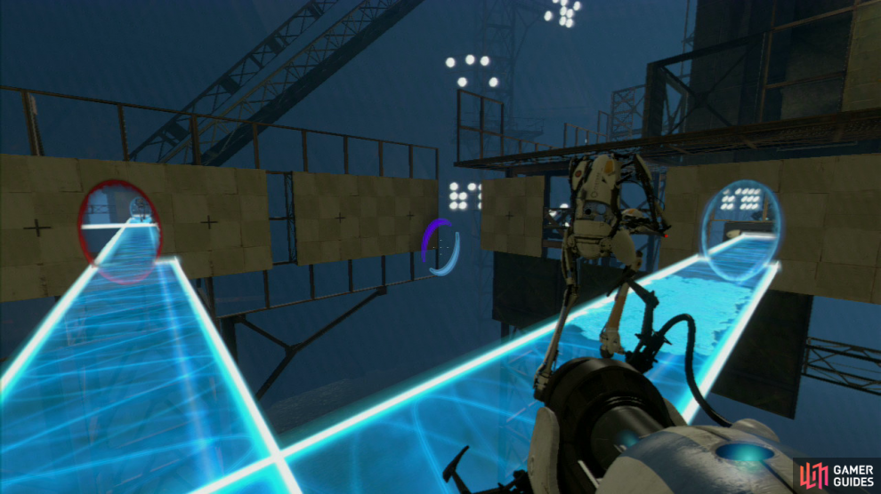 Player 1: Press the red button and – as long as you placed your light bridge correctly – repulsion gel will land on the bridge, allowing you both to jump up to the other side and onto part 2 of the chamber.