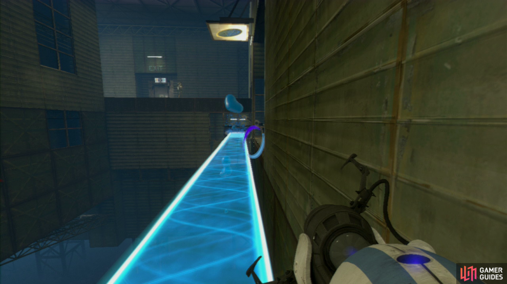Player 1: With the light bridge now coated in the gel, use it to jump up to the ledge with player 2 and make your way to the exit.