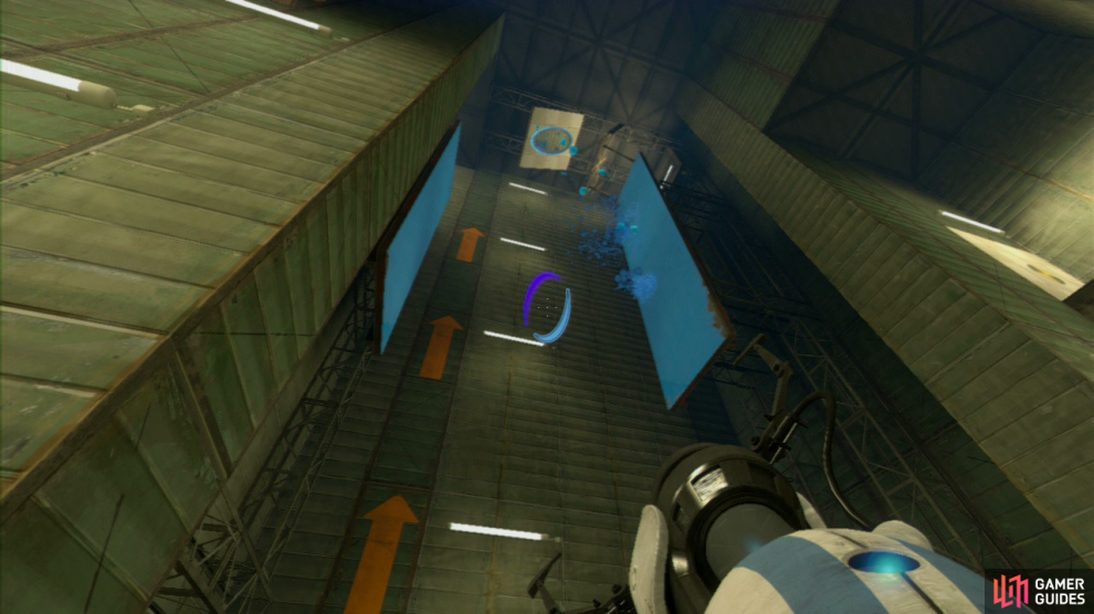 Player 1: Your first task is to set a portal on the lower wall panel to your left and then on the angled wall panel in the corner. Press the red plunger and the repulsion gel will coat the left-hand vertical wall panel leading upwards (to be absolutely certain you've covered enough of the wall panel, press the plunger twice).  Now look directly up at the ceiling and you should spot a second angled wall panel pointing towards the right-hand vertical panels. Get your exit portal up here and once again press the red button twice to fully coat this wall in gel.