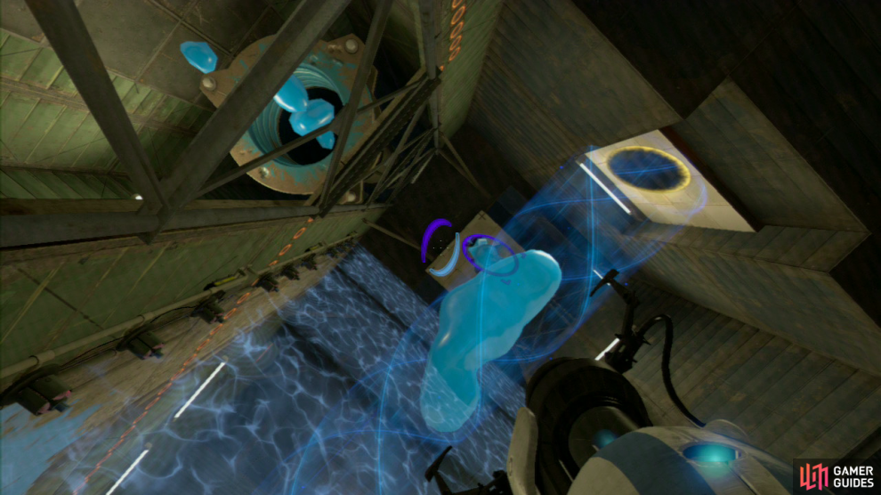 Player 2: Upon entering the next area, look to your right and set a portal on the ground by the excursion funnel. Then on the vertical square panel directly above the entrance and position yourself on the red square switch on the floor (this switch rotates a panel on the other side of the force field, so don't move)!