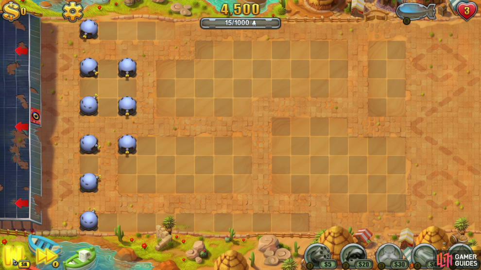 The key to this round is the spacing of your towers. Try not to bunch them too close together, otherwise they lose their effectiveness.