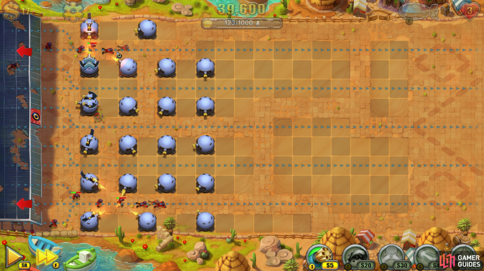 Keep pausing after every major rush to add more towers on the same horizontal strip of ground (See screenshot above).