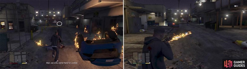 If you look at the end of the alley you can see the biker. Try and kill him as soon as he appears (left). Shoot into the trail on the floor to get some nice fireworks (right).