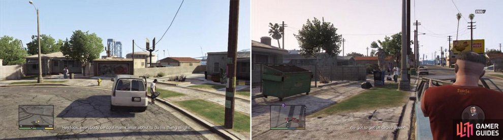 Welcome back to the Grove (left). There are plenty of gang members to kill and get headshots from (right).