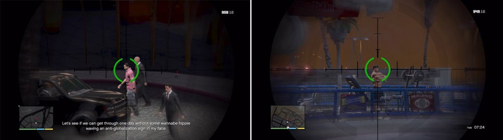 You need to get in a good position for these assassinations (left). Some are easier than others (right).