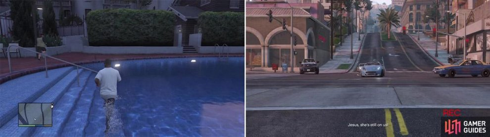 Take a quick detour into the pool here. You only need to step in the pool to complete this objective (left). Zooming out helps a lot to keep the camera on her. When you take a tight turn or she gets a bit too close, just zoom out to keep the box green. (right)