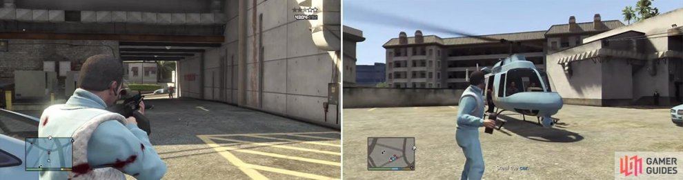 Some more security will arrive in a car behind you so be prepared to take cover to deal with the rest of them (left). You can throw a sticky bomb onto the helicopter before it flies off and blow it up (right).