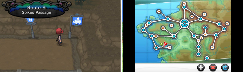 These signs inform you that a large Pokémon (Rhyhorn) is required to cross the terrain.