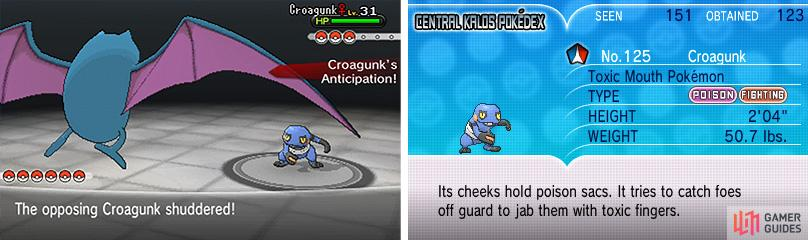 Poison/Fighting Croagunk is weak to Flying, Ground and Psychic moves.