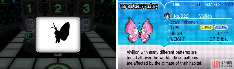 The silhouette to the left should match Vivillon's on the right (it doesn't here).