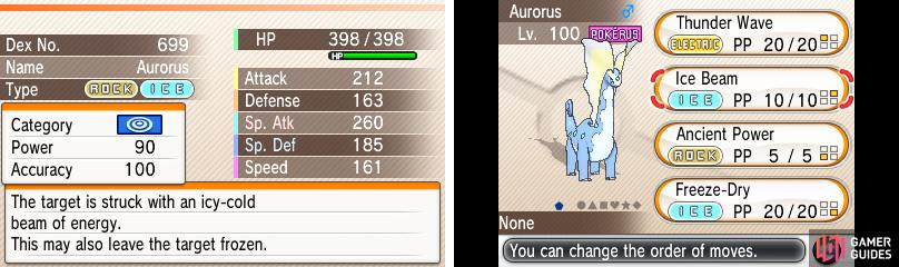 Aurorus (Rock/Ice) has STAB with all three attack moves; sweet!