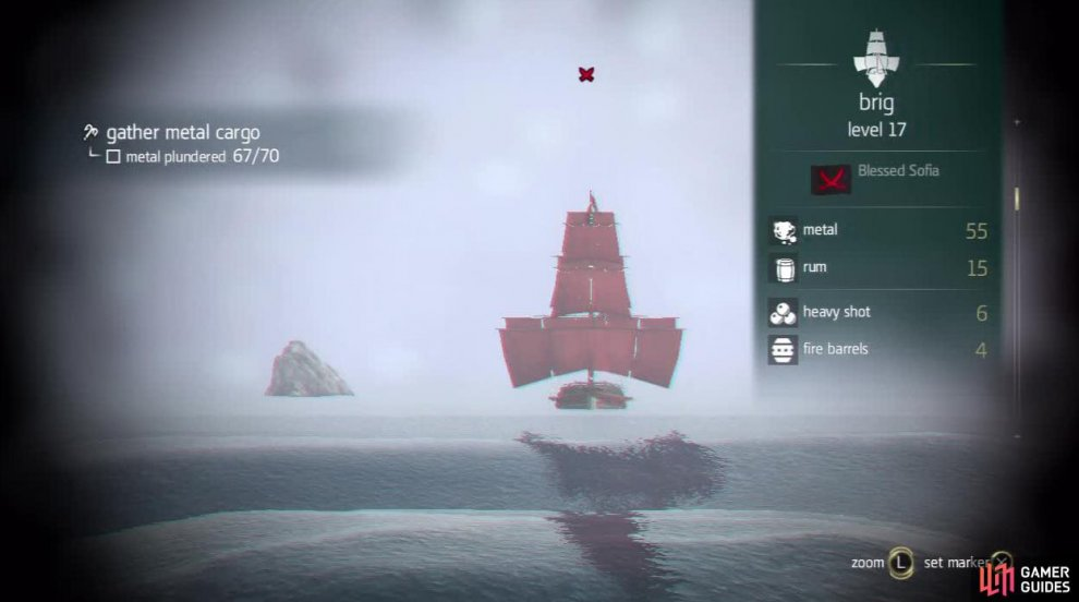 Hunters can be denoted by their red sails. They will also show up as red crossed swords on the HUD.