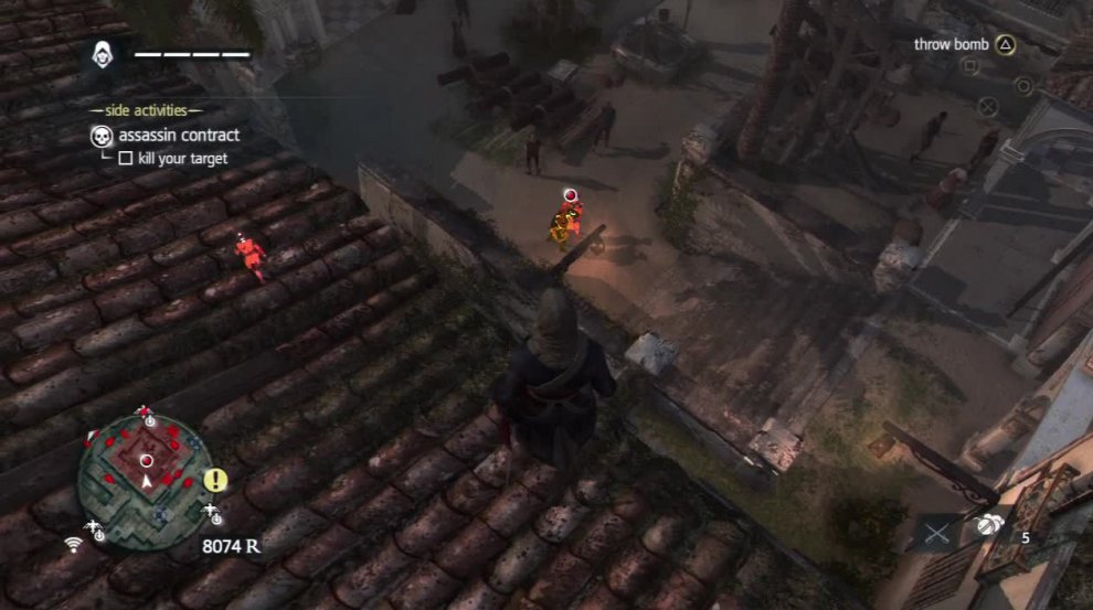 You can also take out the two guards on this rooftop and then jump down inside. Quietly sneak over to the wall near the target and air assassinate both him and the guard he is talking to.