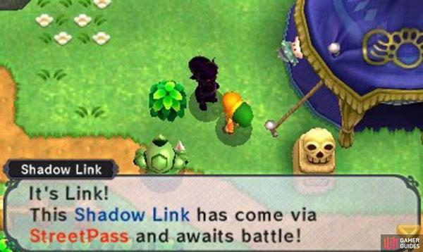 Once you've successfully StreetPassed somebody, a signpost will appear in the field below Gramps. Check the signpost to view the Shadow Link's bounty and location. Then it's just a matter of heading to the location and looking for an ominous, shadowy Link casually standing around. Speak with the Shadow Link and you'll be given the choice to fight him.
