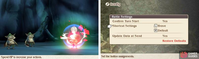 To speed up battles you can press L to Default and R to Brave (you can swap the buttons from the Config).