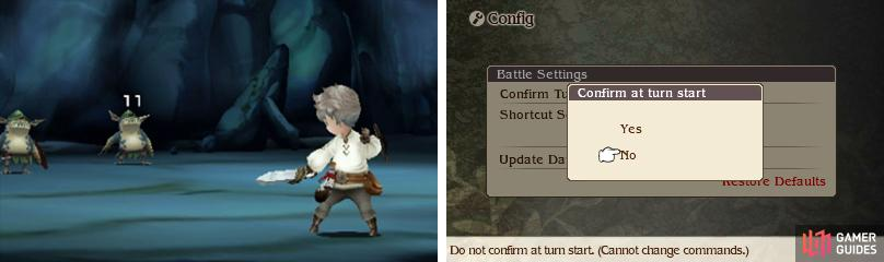 "We recommend turning off ""Confirm Turn Start"" (go to Tactics and Config, then ""Battle Settings"") so you don't need to press ""Go"" every turn."