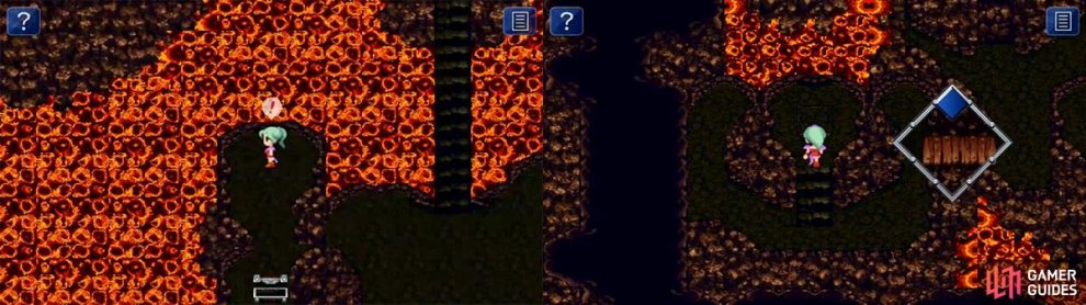 There are many hidden items on the tiles in this area. This switch in this section opens the cave to many items including the legendary Ultima Weapon.