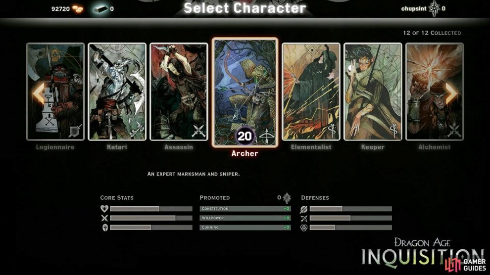 Choose between one of twelve unique Agents of the Inquisition.
