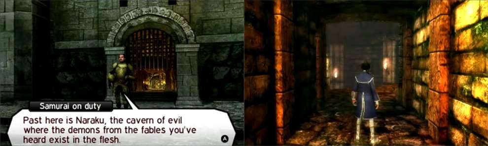 Inside dungeons (and other locations) you'll encounter demons by bumping into them.