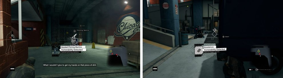 Distract the enemies with environmental objects such as the pitching machine (left) and cell phone (right).