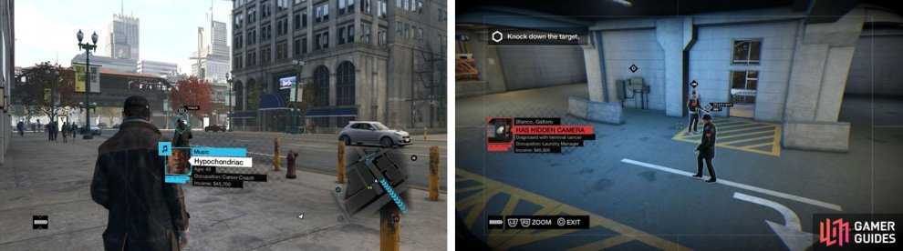Citizen Rewards are marked with a blue diamond (left), while enemies and potential threats are marked with red (right).