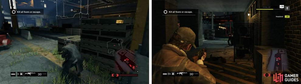 Stay on the move to avoid being surrounded (left) and take cover from the helicopter's fire under building when needed (right).
